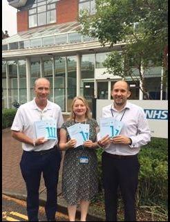 Tom Lanham joins the CCG's Emma Sanford and Peter Hunt at the start of the Lynch Syndrome leaflet campaign.