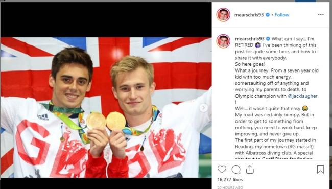 Chris Mears posted the announcement on Instagram