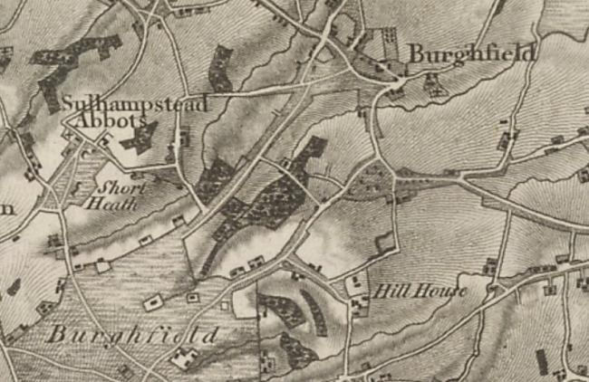 Ordnance survey map from 1817 showing Pondhouse Copse