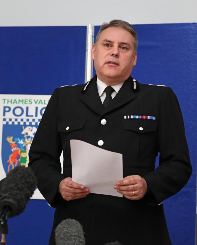 Chief Constable John Campbell speaks to the media during a press conference on the death of Pc Andrew Harper at Thames Valley Police Training Centre in Sulhamstead, Berkshire. Pc Harper, 28, was killed whilst responding to a burglary on Thursday evening.