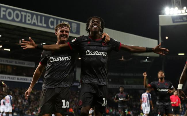 Ovie Ejaria of Reading celebrates with John Swift after he scores the opening goal to put Reading FC 1-0 up. Photo: JasonPix