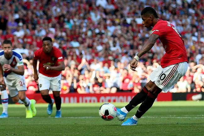 Manchester United's Marcus Rashford misses from the penalty spot.