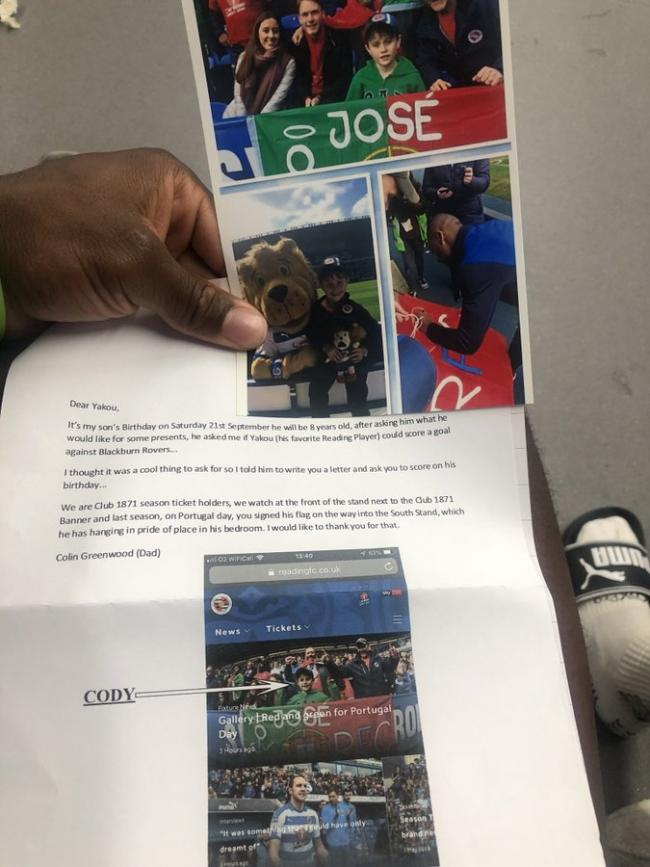 Reading player's special message for young fan