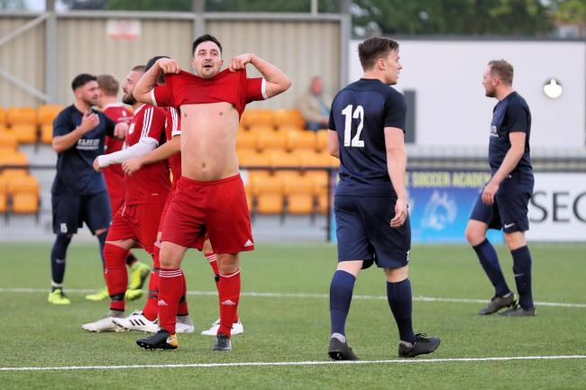 Barry Dunbar has his own way of celebrating scoring for Datchet.