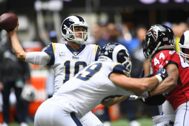Jared Goff shapes to throw in the Los Angeles Rams' win over the Atlanta Falcons