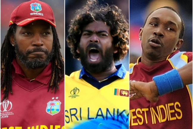Chris Gayle (left), Lasith Malinga (centre) and Dwayne Bravo