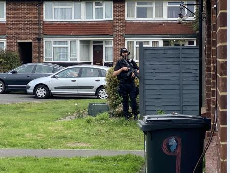 Third man arrested after armed police raid in Thatcham