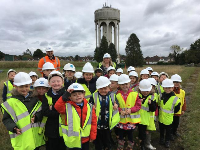 Students at Springfield Primary School search around at Tilehurst water tower