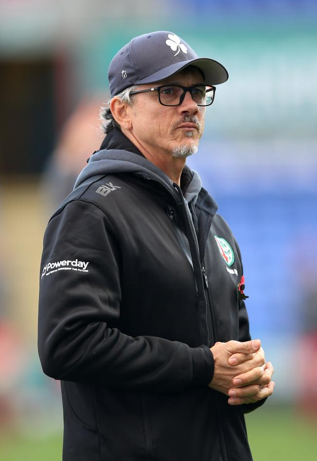 London Irish's head coach Les Kiss during the Gallagher Premiership match at the Madejski Stadium, Reading. PA Photo. Picture date: Sunday November 10, 2019. See PA story RUGBYU London Irish. Photo credit should read: Nigel French/PA Wire. RESTRICTION