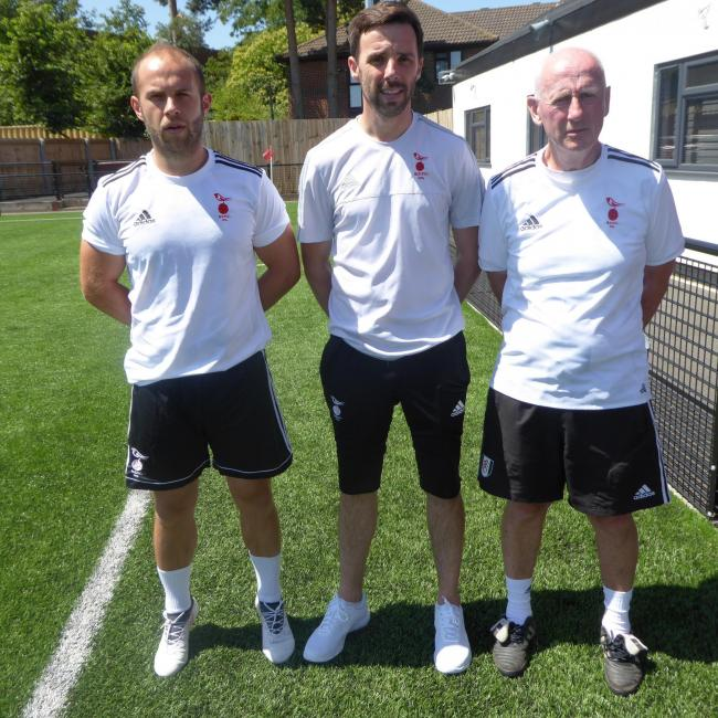 Bracknell Town coaches Michael Butcher, Gavin Smith and Geoff Warner