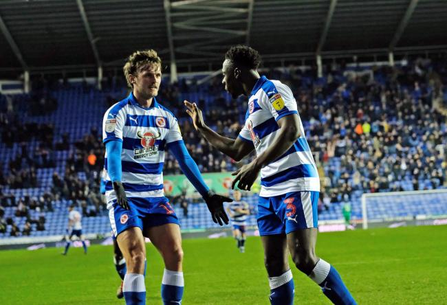(190242) Johns Swift goal with Andy Yiadom. Reading 2:1 Blackburn Rovers - Championship. Action imaages and fans gallery. Pictures by Mike Swift.