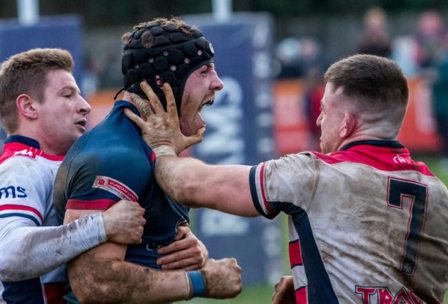Rams (blue) beat Rosslyn Park 27-20 in a thriller   Pictures by Paul Clark