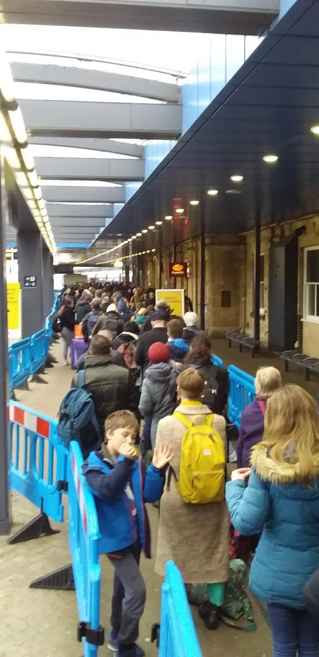 Queues at Reading Train Station. picture Paul king