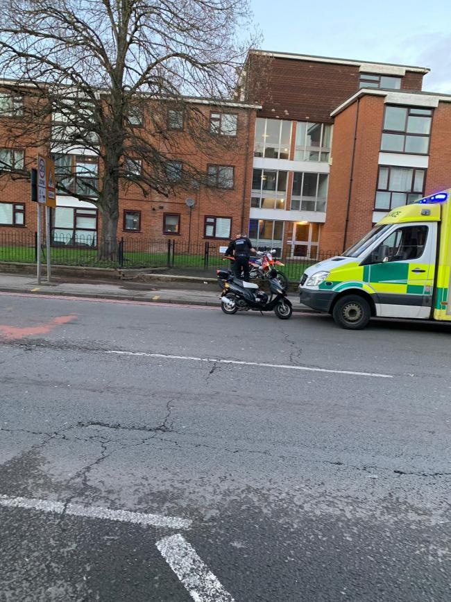 Road closed after motorcyclist reportedly hit