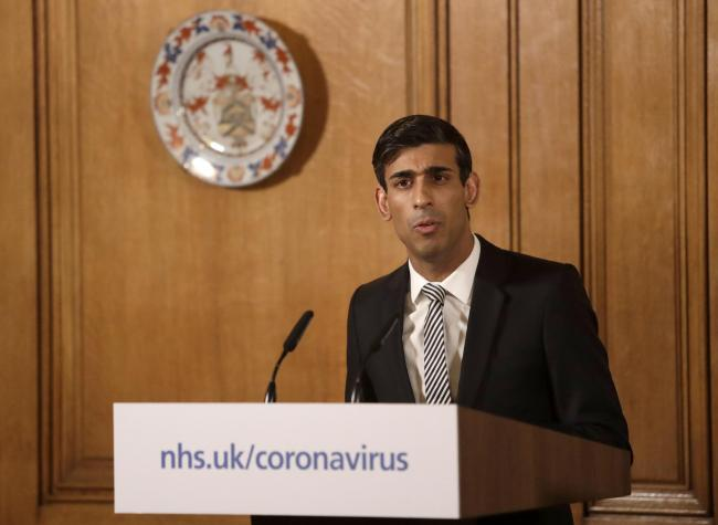 Chancellor Rishi Sunak speaking at a media briefing in Downing Street. Photo by: Matt Dunham/PA Wire