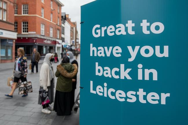 Signs in the centre of Leicester welcoming people back as the city may be the first UK location to be subjected to a local lockdown after a spike in coronavirus cases