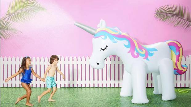 Reading Chronicle: This unicorn sprinkler looms above kids, but it's a good size for adults, too. Credit: Sun Squad