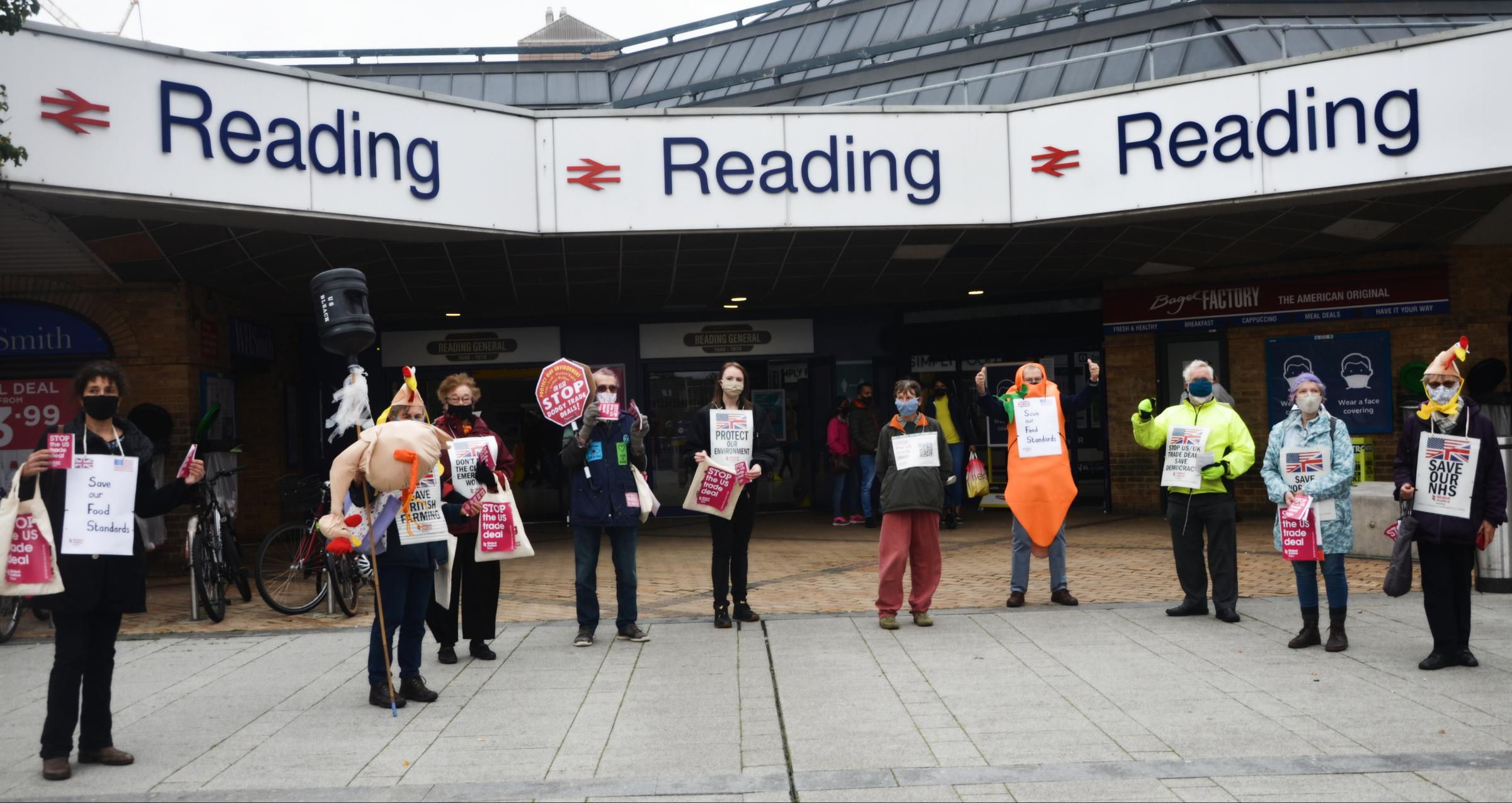 Protesters campaign against US trade deal outside Reading Station