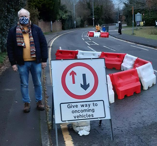 Cllr Andrew Mickleburgh, standing by the newly placed chicanes.