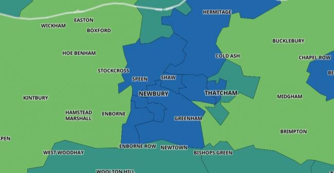 A map showing how many confirmed cases of Covid-19 each area of West Berkshire has recorded