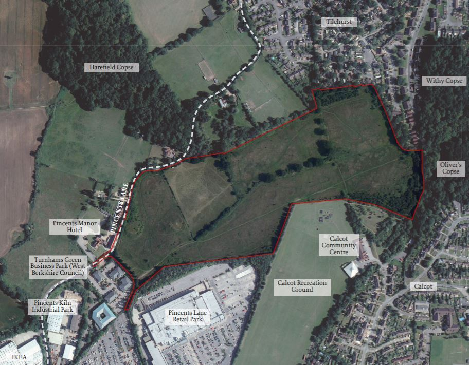 A map of the site, just off Pincents Lane in Tilehurst, where developers want to build 265 homes