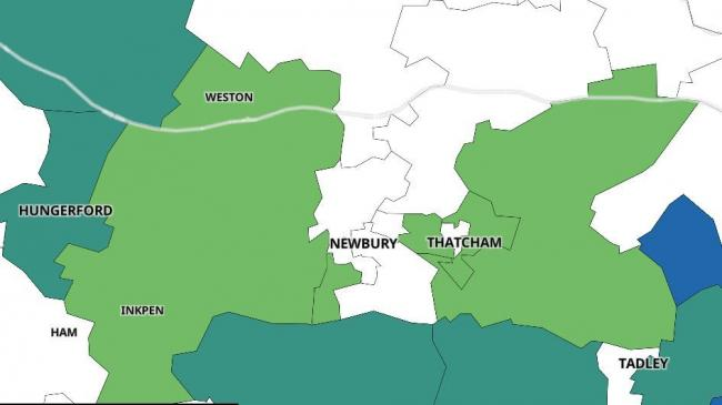 An interactive map showing the number of confirmed Covid-19 cases in each area of West Berkshire