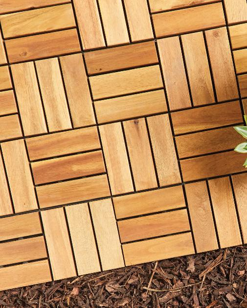 Reading Chronicle: Two Direction Wooden Decking Tiles. (Aldi)