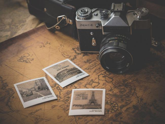 Stock image of a camera and map