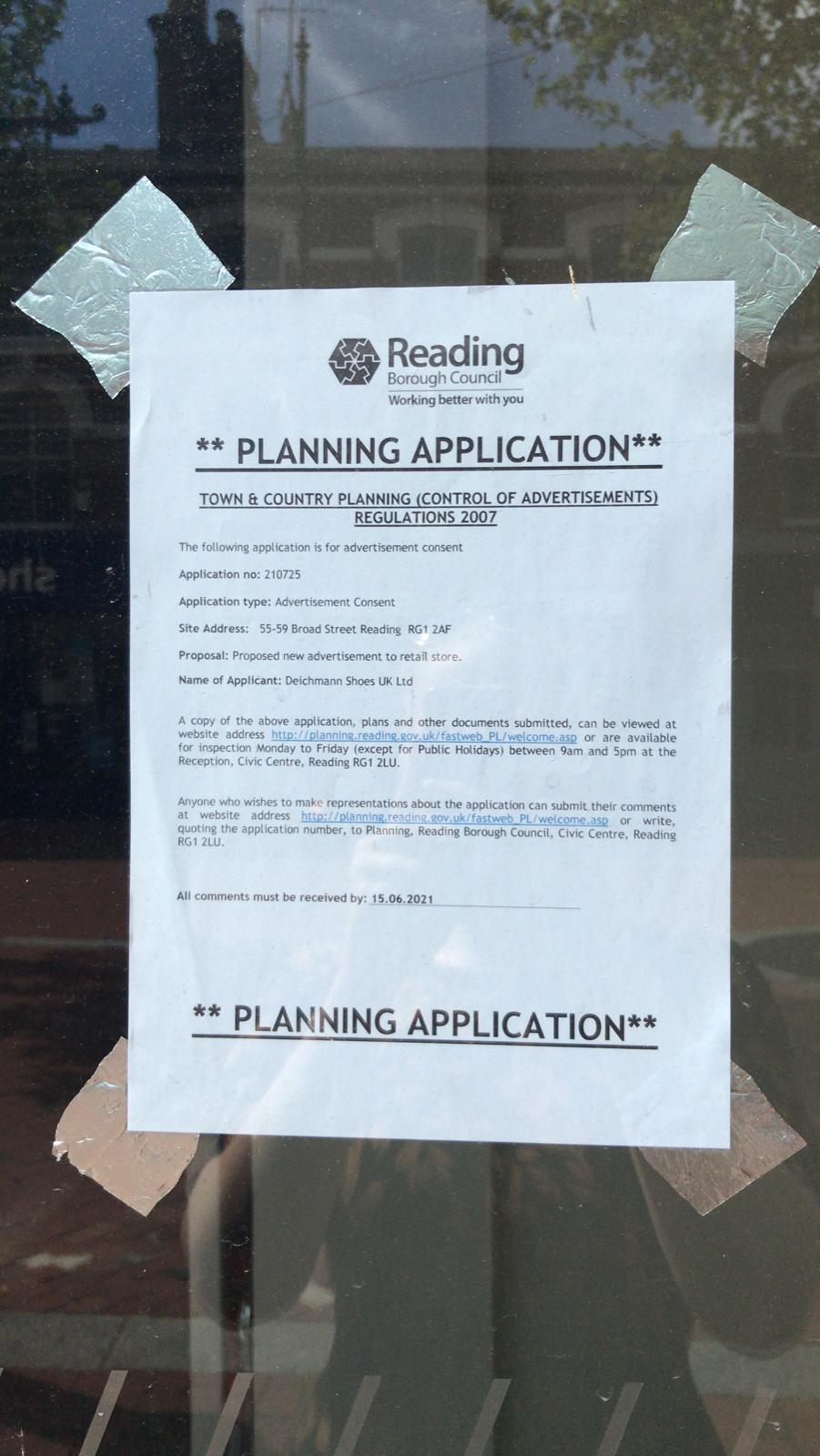 The planning application sign