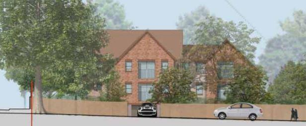 Reading Chronicle: The street scene for the proposed plan for 18 Parkside Road, Reading. Credit: Colony Architects