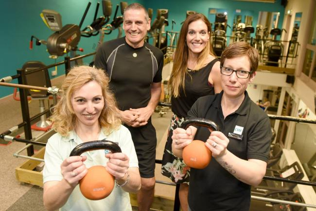 Owner Amanda Adlem, personal trainer David Eady, Abby Evely and Pippa Cavaco PHOTO: EMMA SHEPPARD 160545 Caversham Health and Fitness Club nominated for the Reading Retail Awards Service with a Smile