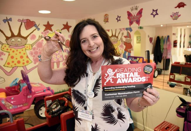Hayley Wall from Kool Kidz Kutz in the salon after being nominated for a Reading Retail Award