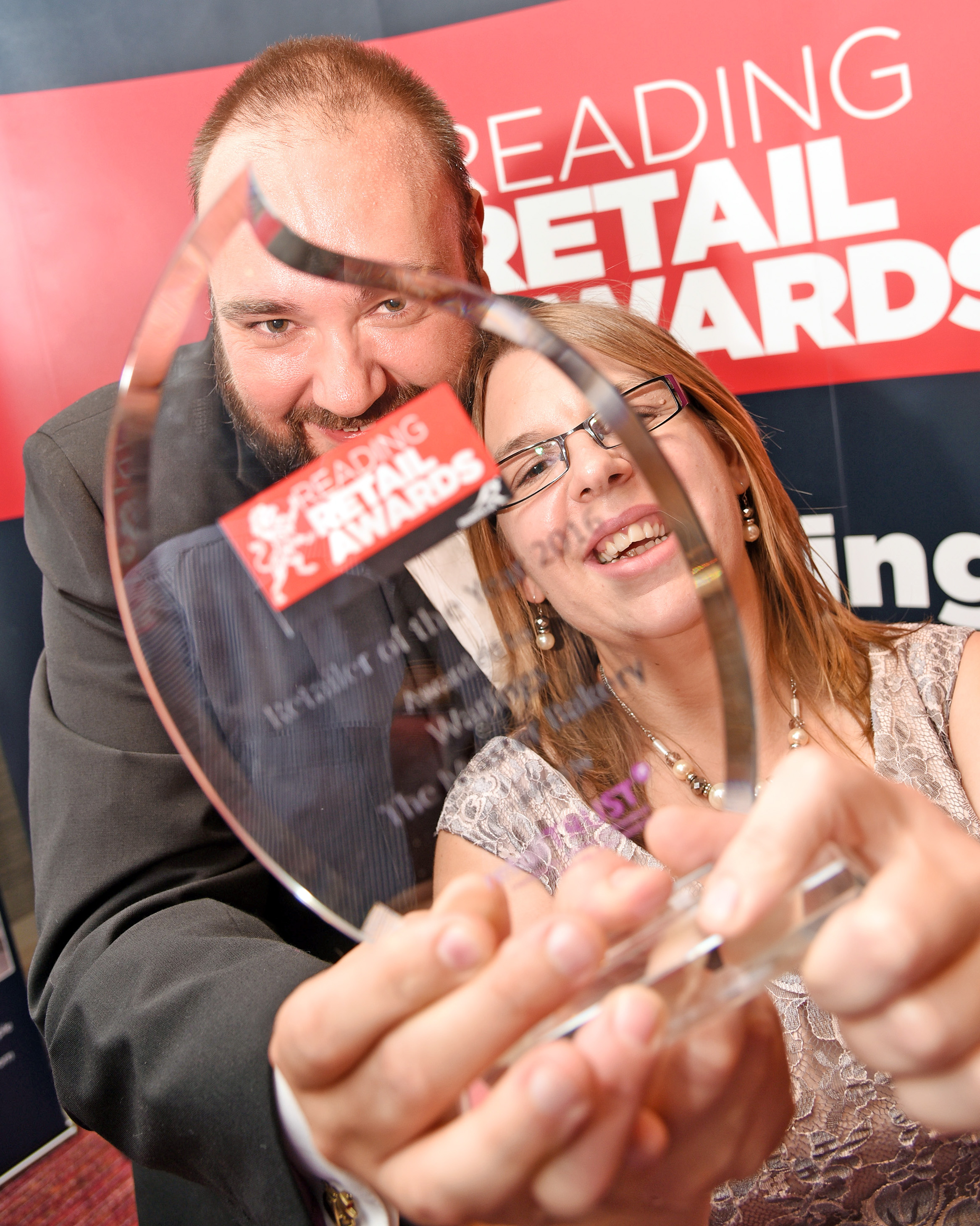 Dan and Vicky Carr celebrate Warings Bakery's win at the Reading Retail Awards. Picture: Mike Swift