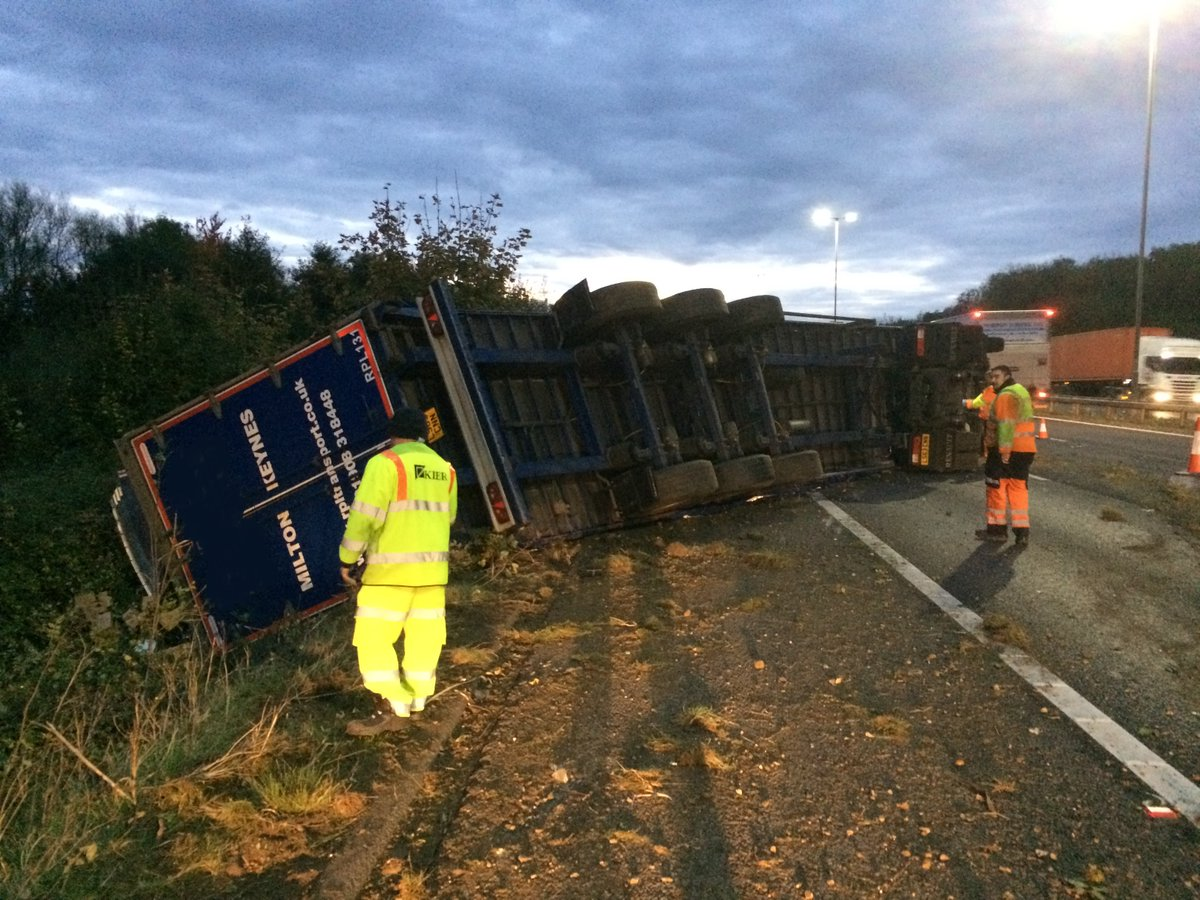 Highways England tweeted this photo of the over-turned lorry