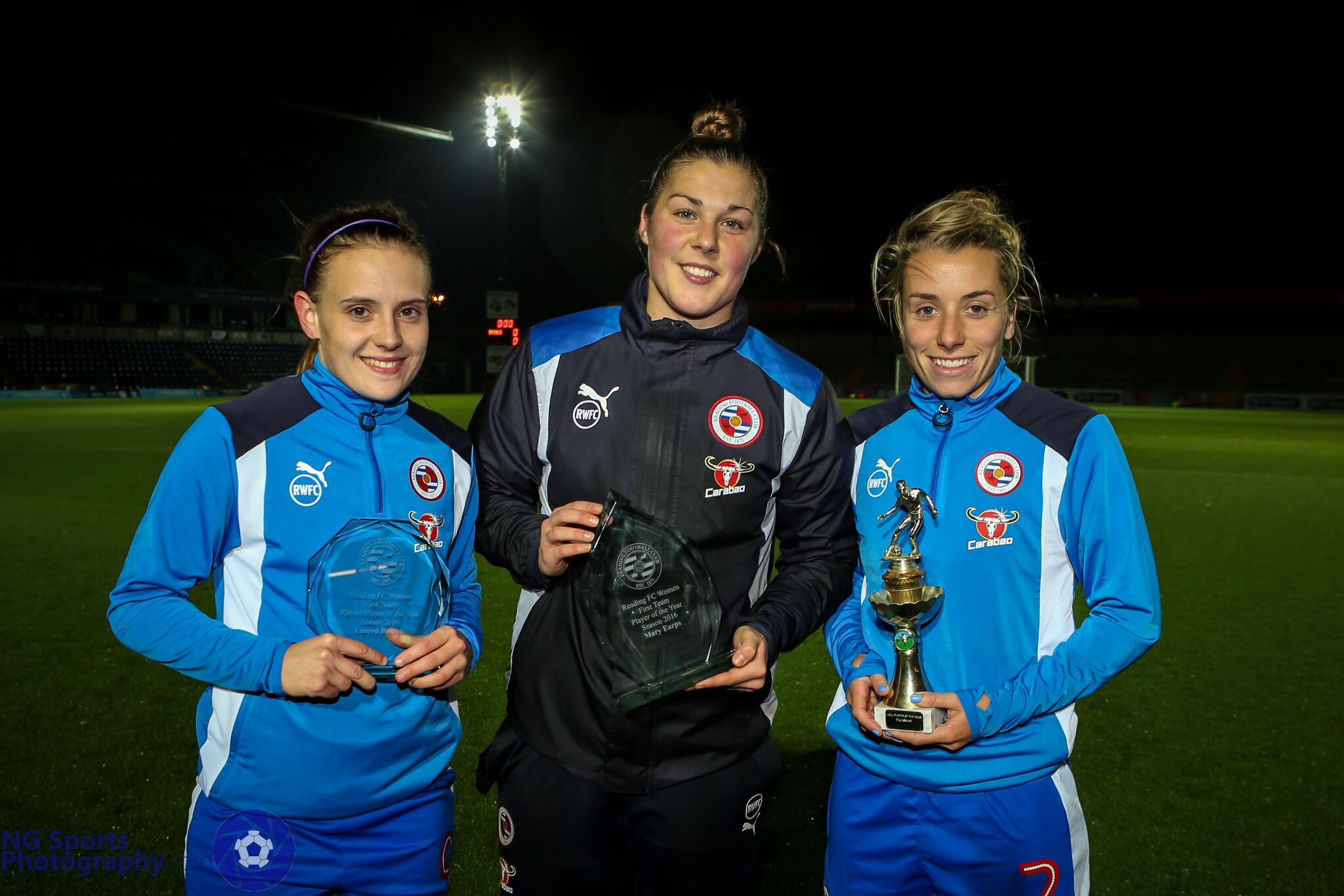 L-R: Reading FC Women Players' Player of the Year, Lauren Bruton; Player of the Year, Mary Earps; Supporters' Player of the Year, Becky Jane.