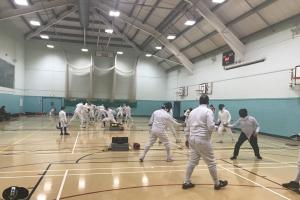 Action from Reading Fencing Club's win against Swindon