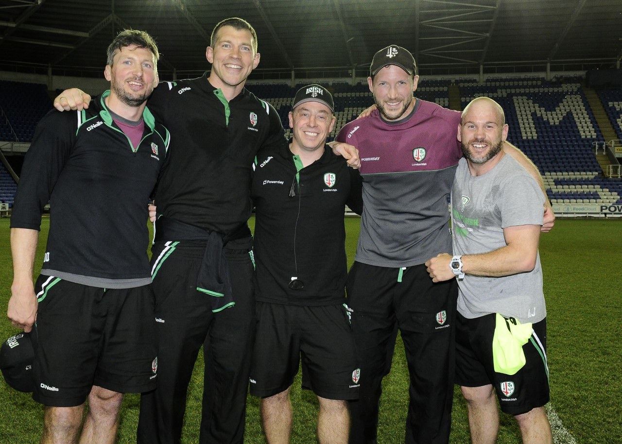 Nick Kennedy (second left) with the London Irish coaching team