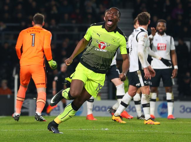 Meite celebrates after scoring against Derby County last season