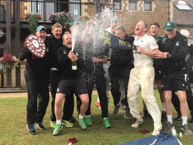 The champagne flows as Berkshire celebrate their Unicorns Championship success by beating Lincolnshire.