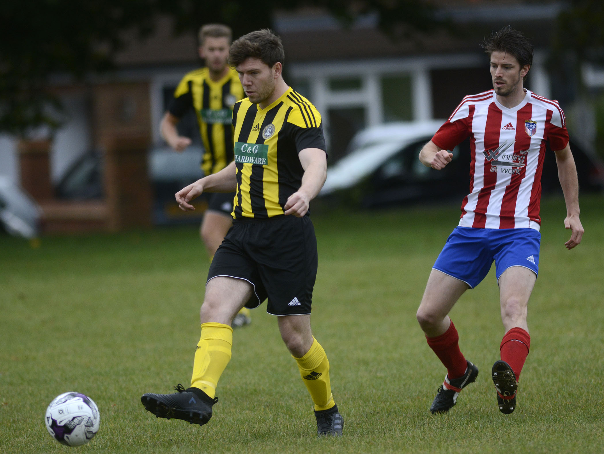 Action from Athletico Forest's (red/white) 3-2 win against Tilehurst YM
