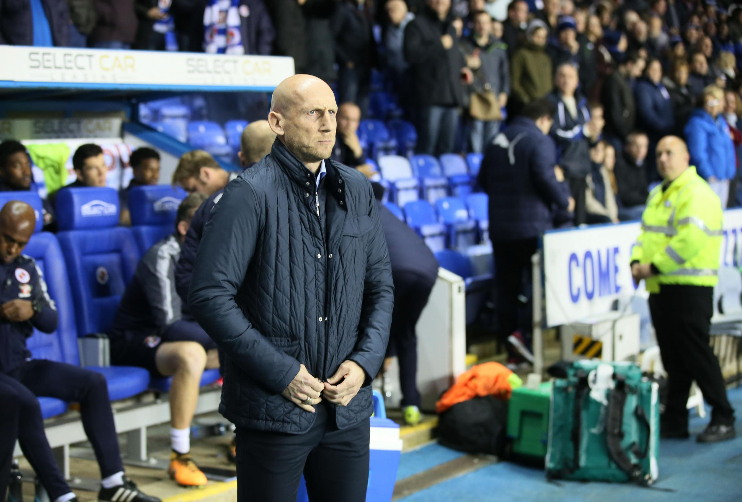 Jaap Stam buttons up his coat before Tuesday's win against Nottingham Forest. Pictures; Ian Morsman.