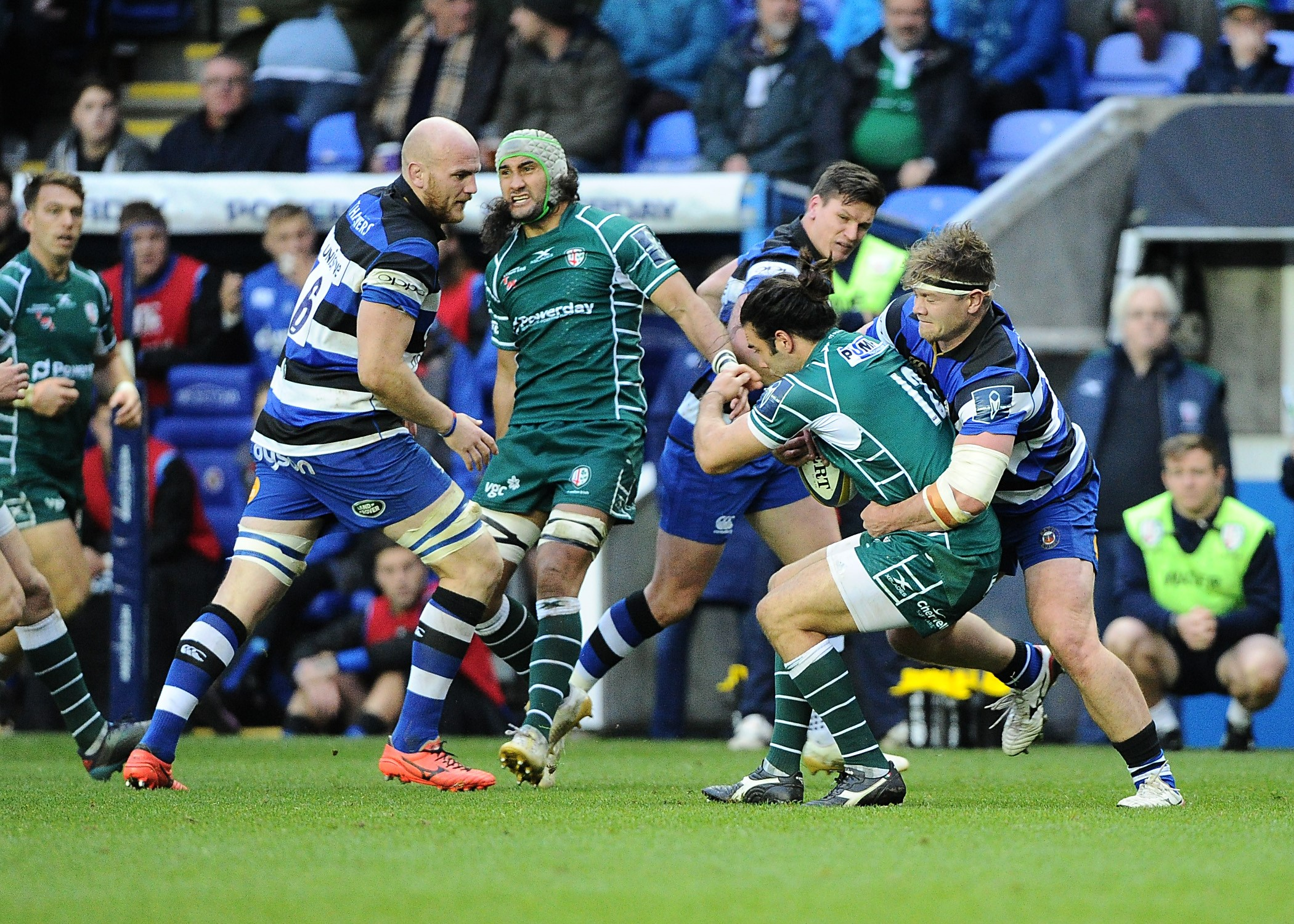 London Irish's Luke McLean is tackled against Bath  Picture by David M. Moore