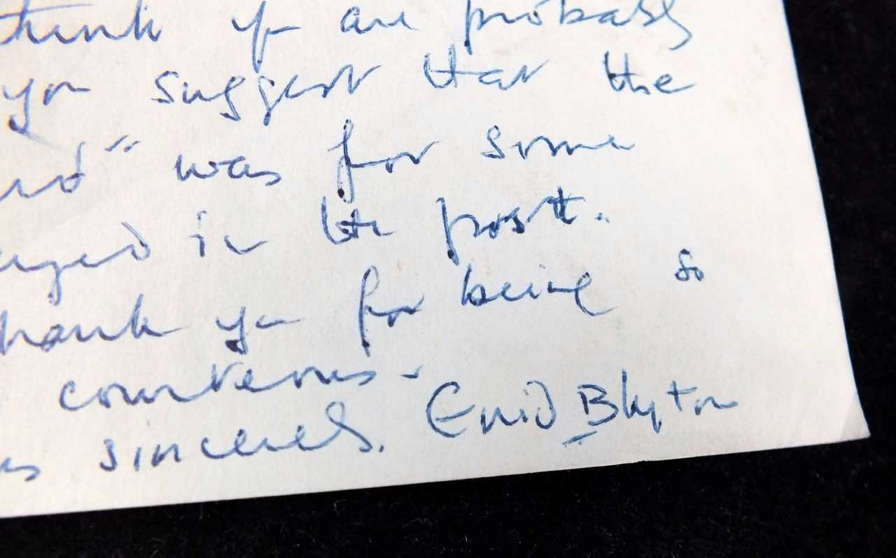 Heart charity finds rare Enid Blyton letter hidden in donation