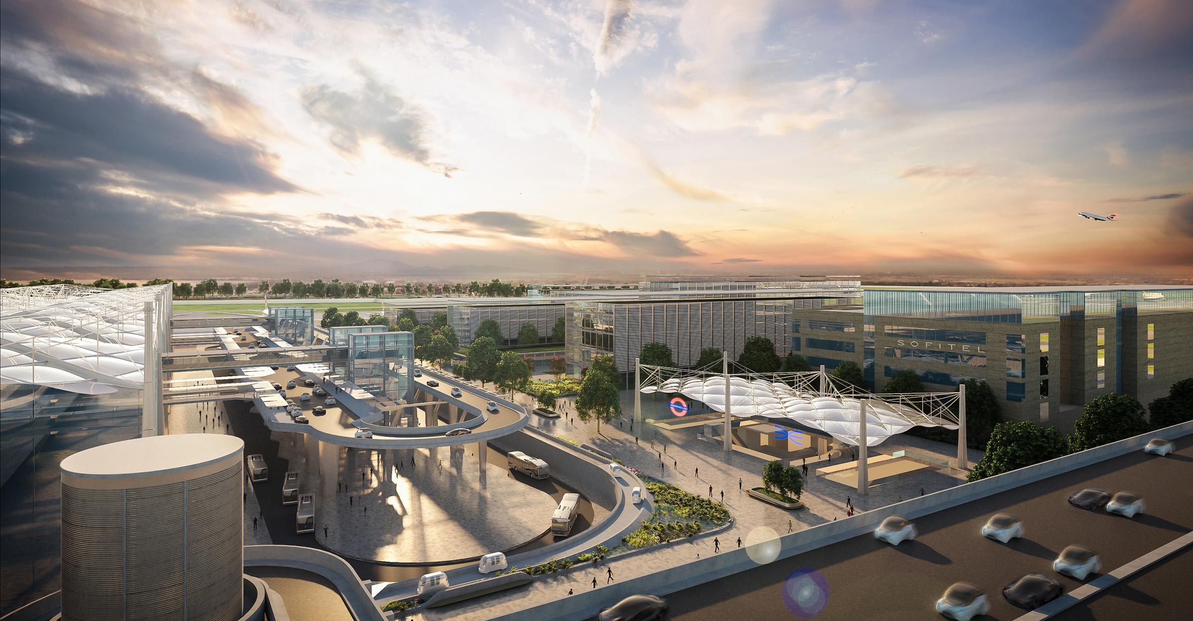 Terminal 2 with extended buildings, crossrail station and an upgraded underground station - courtesy of Heathrow