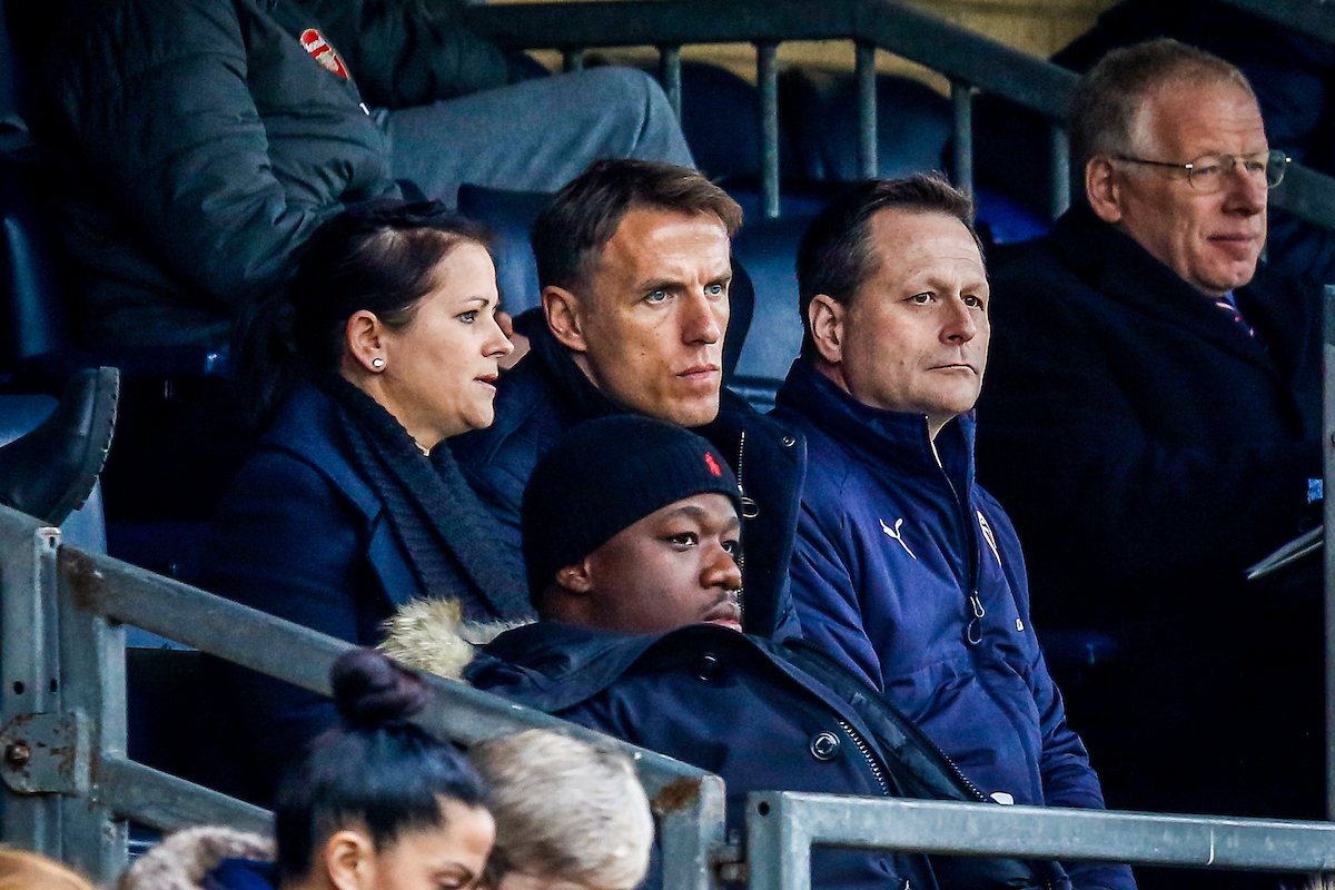 England Women manager Phil Neville sits in the stand as Reading FC Women draw 0-0 with Arsenal. Pictures: Neil Graham.