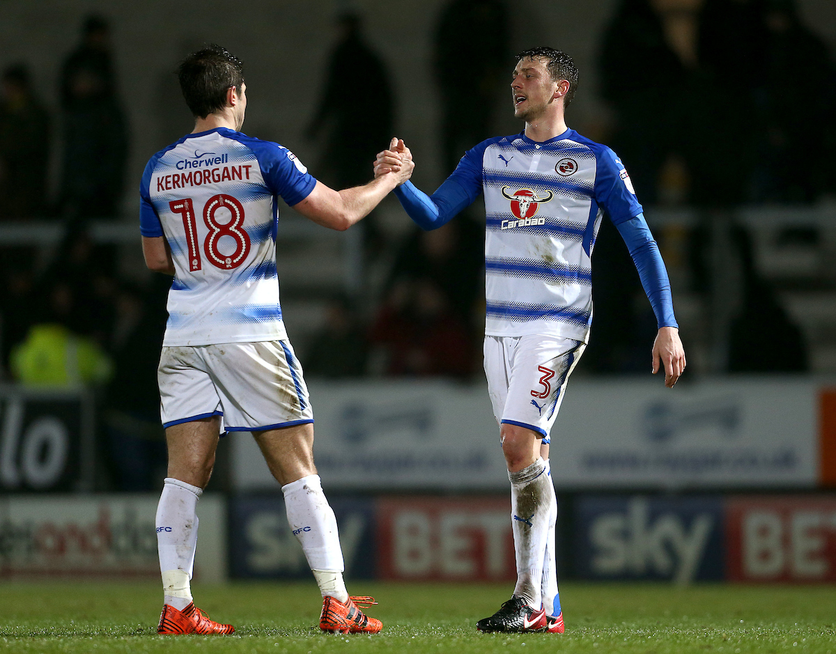 Tommy Elphick, right, suring his loan spell with Reading.