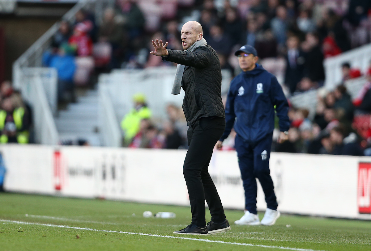 Jaap Stam issues orders at the Riverside in front of Middlesbrough boss Tony Pulis. Pictures: Jason Dawson/jasonpix