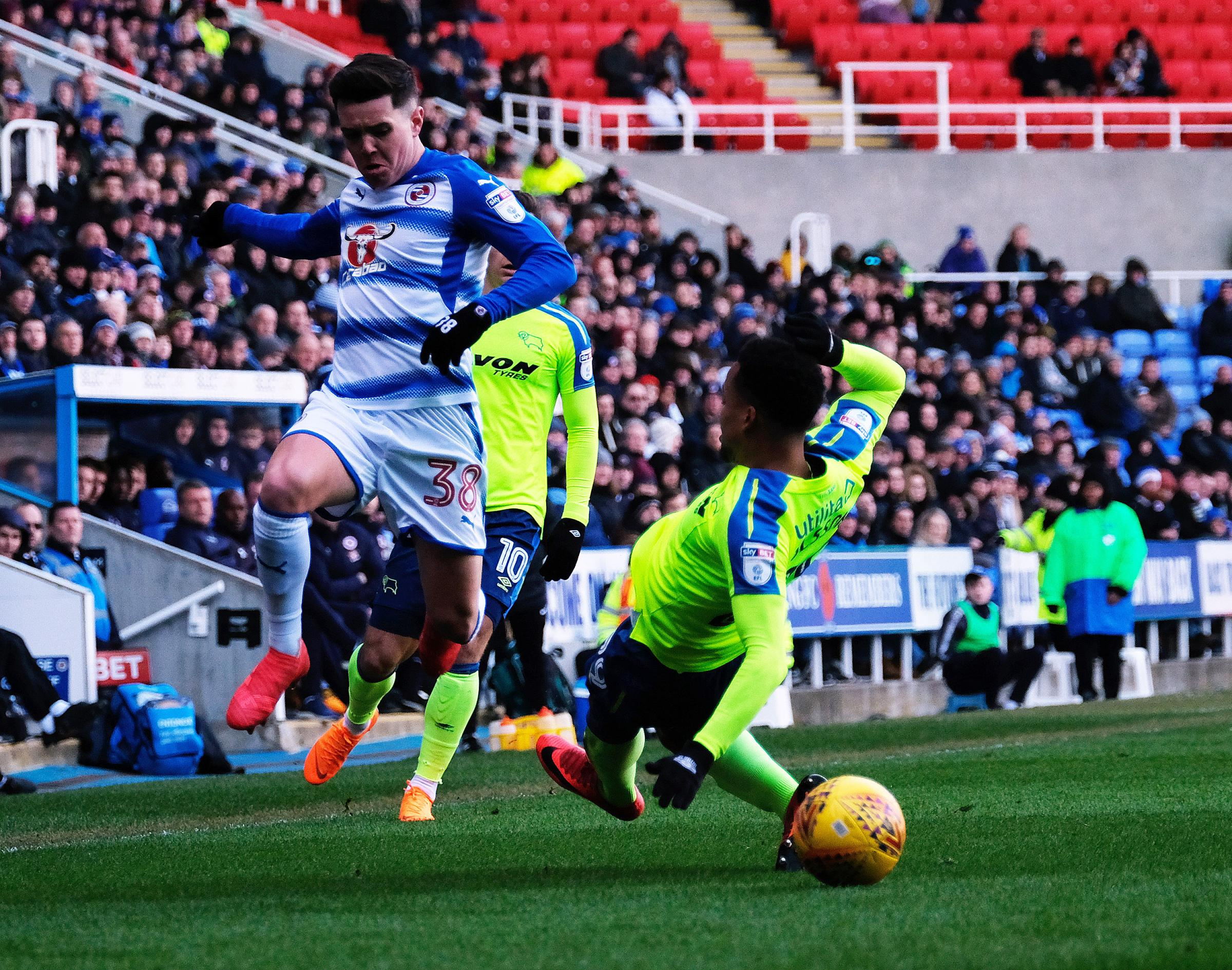 Liam Kelly skips past a Derby County opponent in the 3-3 draw.