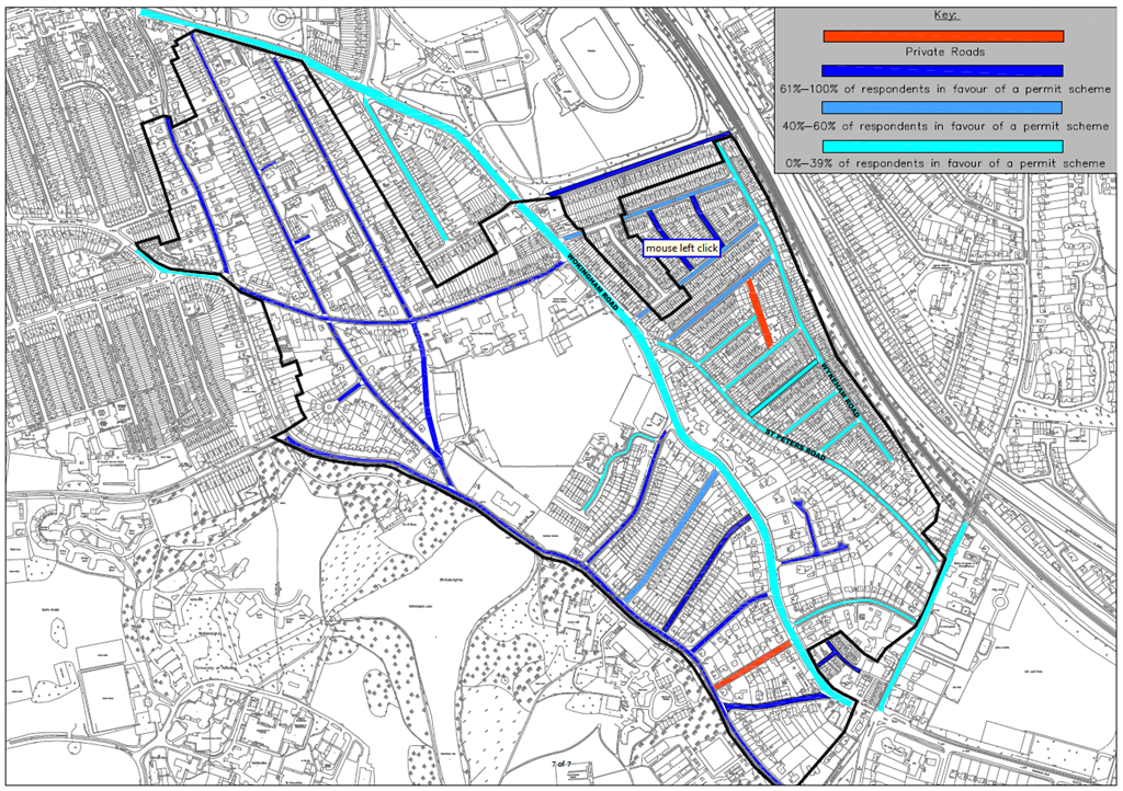 A map shows which residents supported the idea of a parking scheme - Reading Borough Council