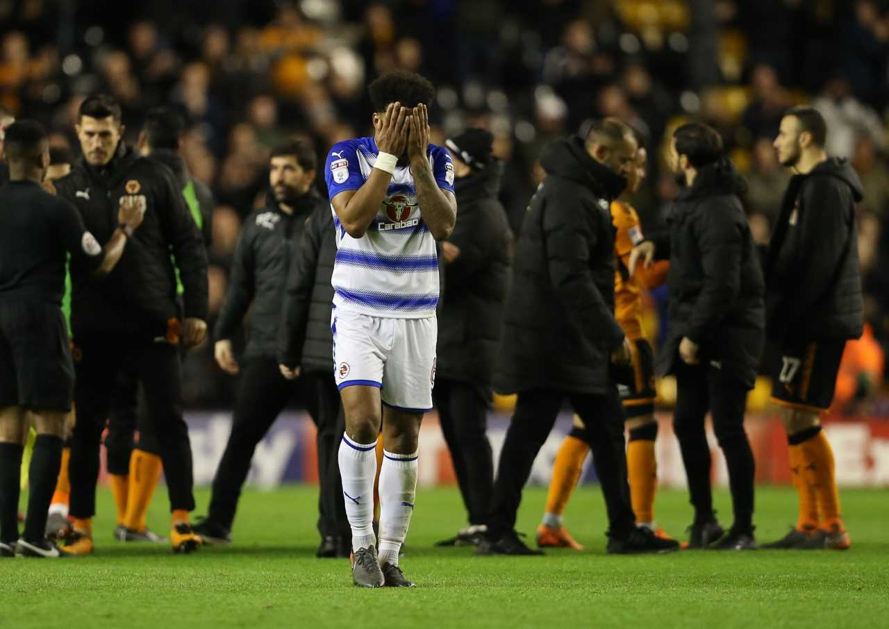 Liam Moore is gutted at the final whistle at Molineux.